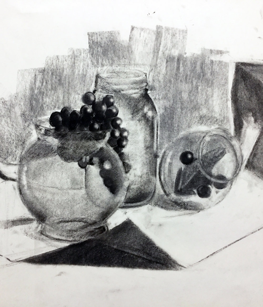 GENERAL DRAWING FOR NON MAJORS- Utica College   Two hour in class drawing of drawing translucent objects.