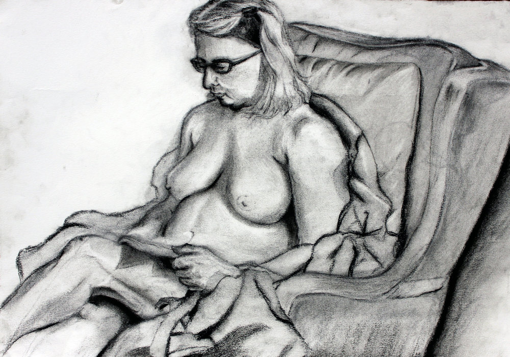 PAINTING AND DRAWING FOR NON MAJORS- Syracuse University   Students work with live model in class.  Charcoal on Paper