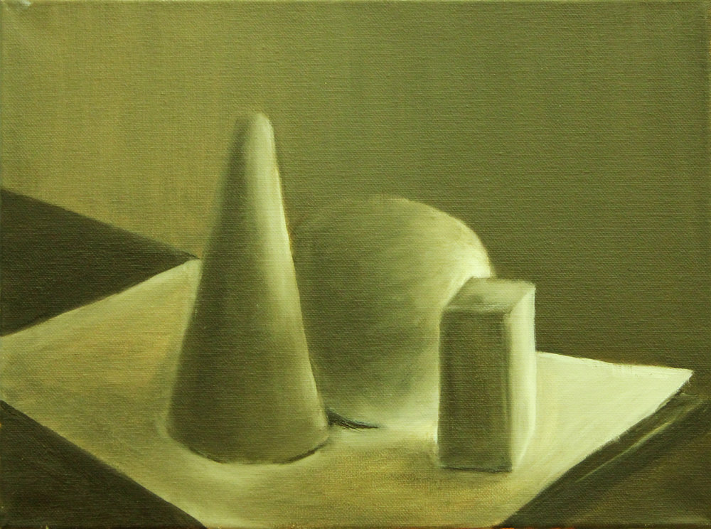 PAINTING AND FOR NON MAJORS- Syracuse University    Raw Umber Study   Students are directed to paint basic forms using raw umber and white. To create forms, students are asked to observe how light is being scattered on objects which includes full value range.  Oil on Canvas