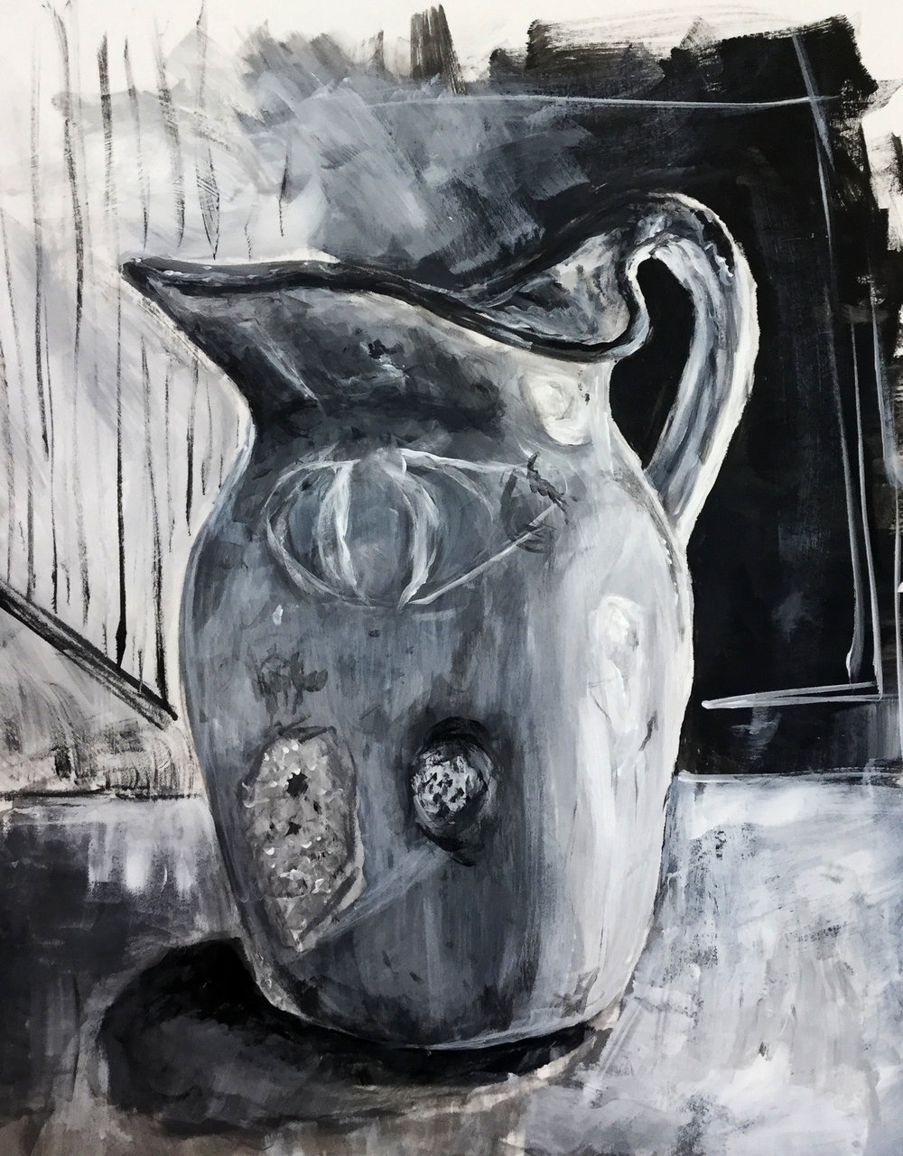PAINTING SUMMER INTENSIVE -Pratt Munson Williams and Proctor Art Institute    Project 1- Grey Scale Still Life   Acrylic on Canvas Paper