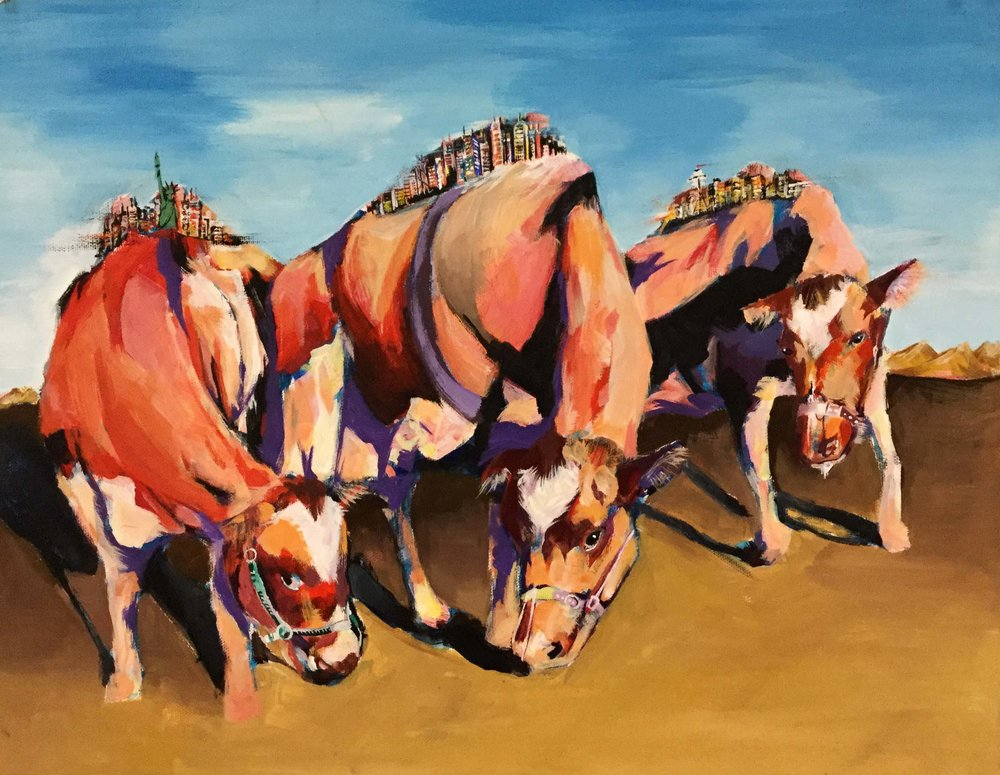 Final   International student paints a form of self-portraiture as cattle. Each of the cattle carries an experience on his back: cities that shaped his identity. Tokyo, New York City, and Utica NY.  Acrylic on Paper