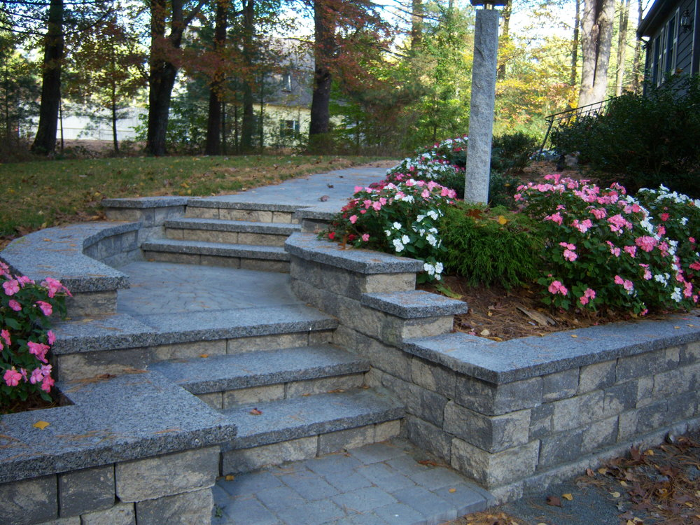Beautiful walkway and retaining wall in Sharon MA