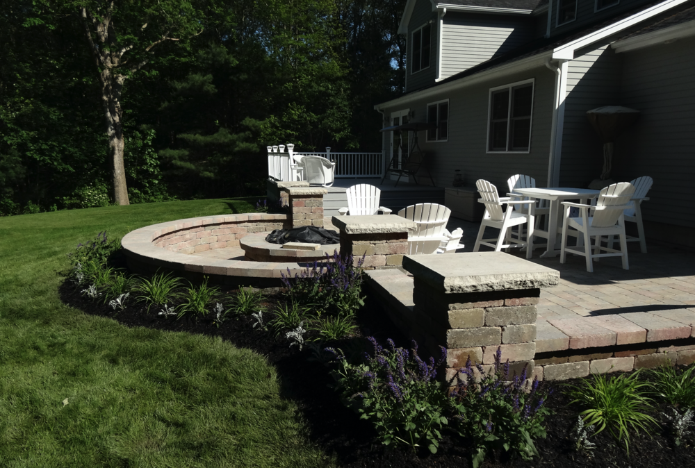 Landscape design with patio installation in Subury, MA