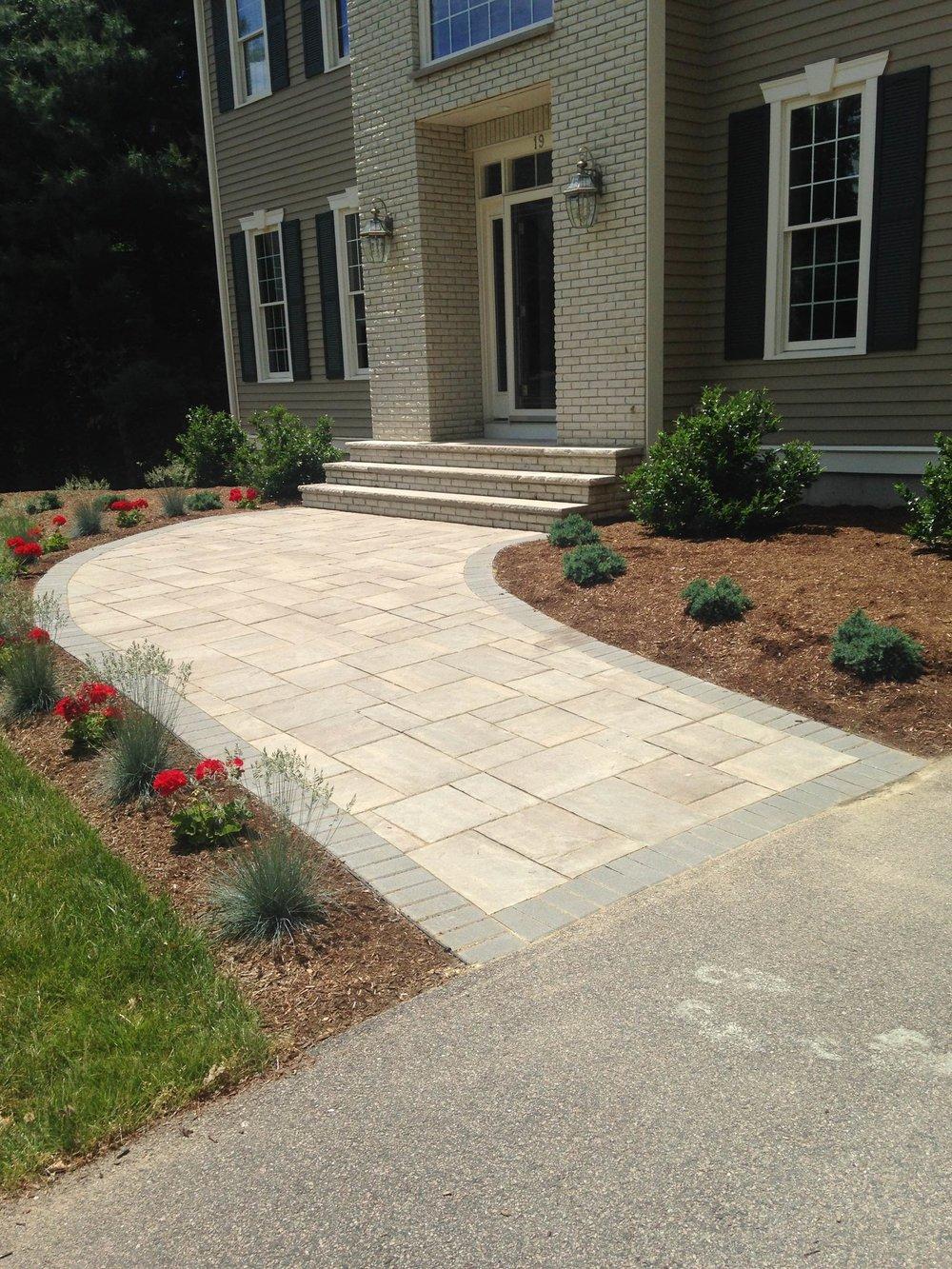 Professional walkway and patio installation in Weston Massachusetts
