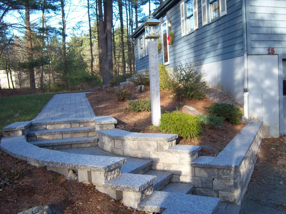 Retaining wall and patio installation in Needham, MA
