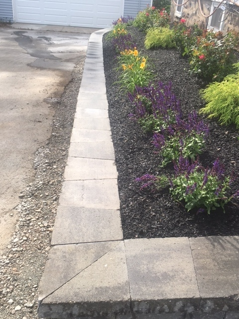 Landscape design for a walkway in Weston Massachusetts