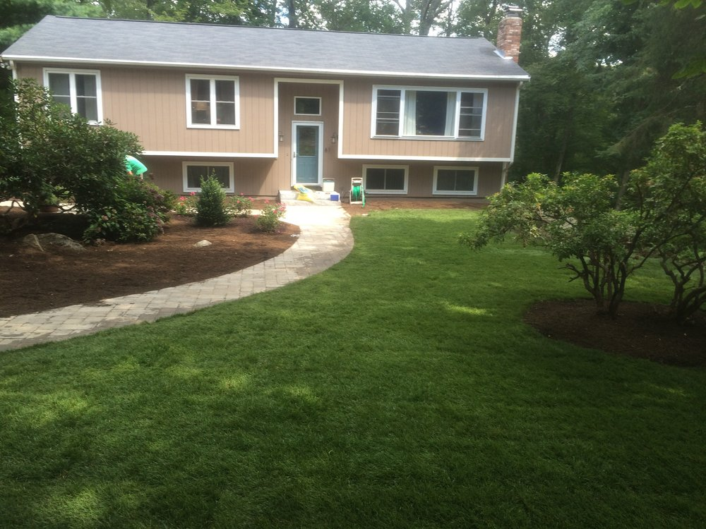 Front yard landscaping with landscape maintenance in Needham Massachusetts