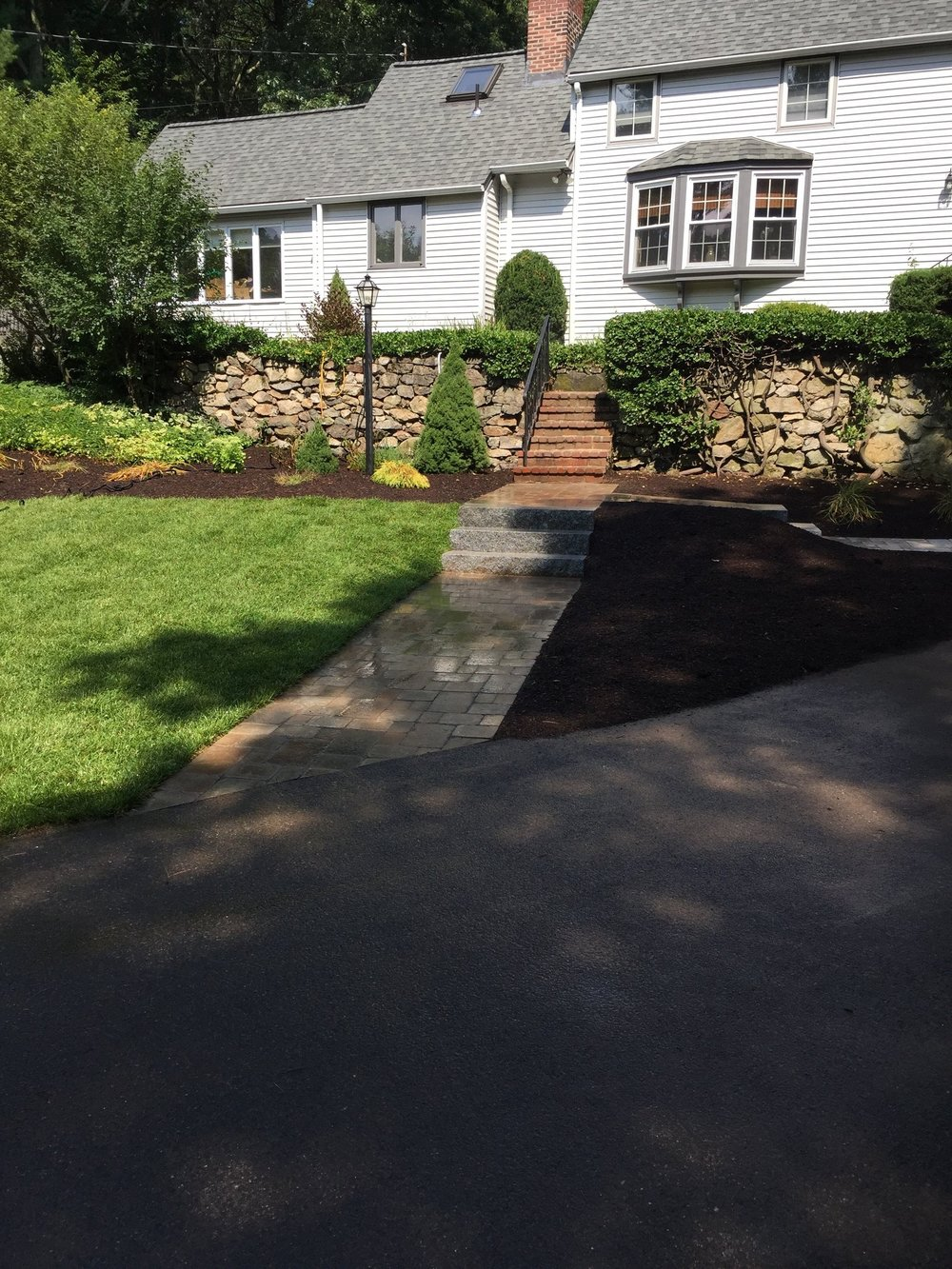 Stunning walkway and patio installation in Newton Massachusetts