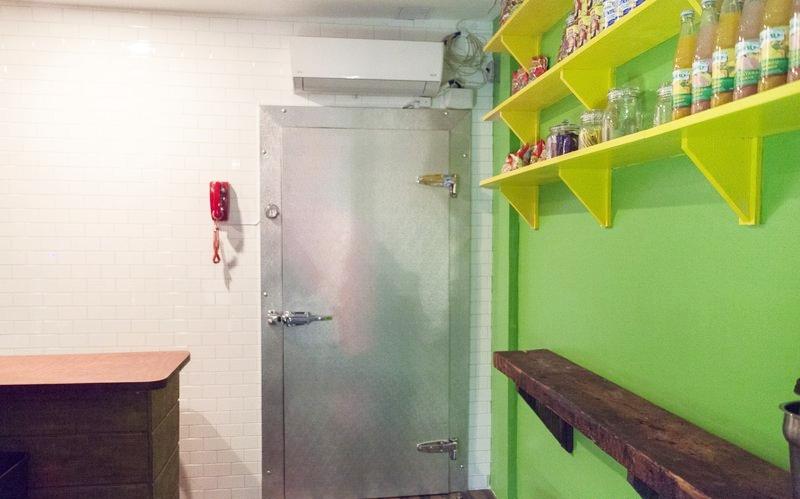 GETTING IN. - Inside the deli, through the freezer door