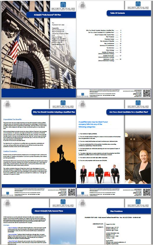 Compelling, Comprehensive Documents - Compliance-ApprovedInstant, Secured PDF OutputsImages, Text, Graphics, Tabular DataDisclaimers, Forms, ContactsCorporate and Advisor Co-BrandingOverviews & Concept ExplanationsPlan ParametersCensus Summary & Detail DataCosts & BenefitsAnalysis of InsuranceAnalysis of AnnuitiesRetirement Rollout ScenarioTax Implications