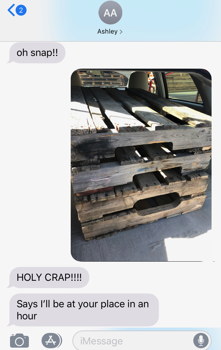 #teamwork - Ashley and I tag teamed sourcing most of the props for the shoot, it was v. exciting when I found these pallets!