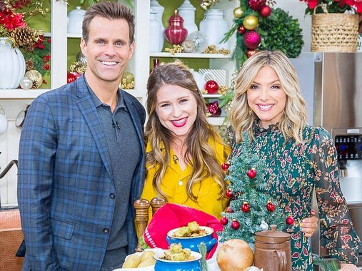 Made some minestrone & wore a jumpsuit and had the best time on @homeandfamilytv today!  If you wanna watch (or make the soup, it's reallllll good) click the link in my bio!