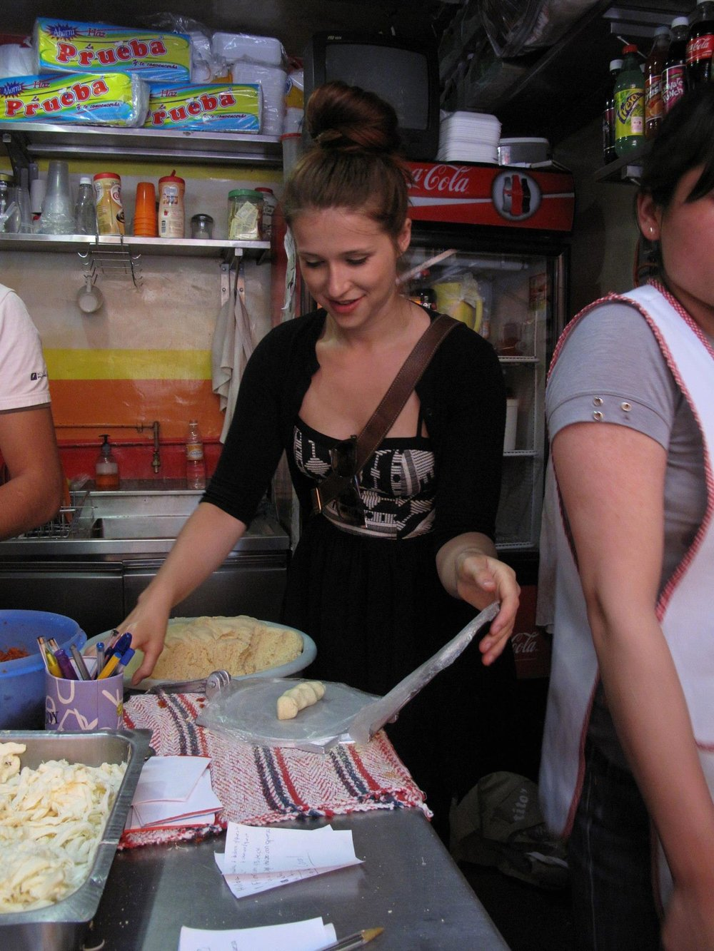 tortilla making in mx! - (p.s. you'll note i had a log of dough here, THIS IS INCORRECT DON'T DO THIS.)