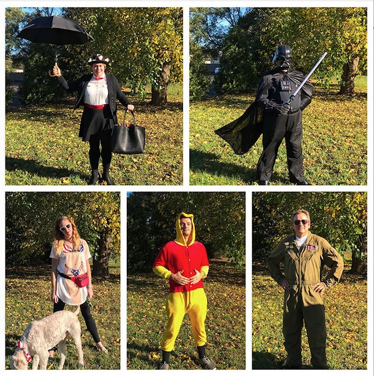 Clockwise: Mary Poppins, Darth Vader, Fighter Pilot, Winnie the Pooh, American Tourist