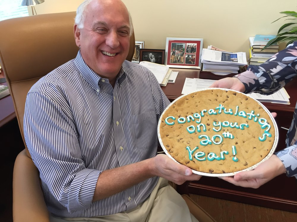 A Happy 20th Anniversary surprise arrives in the form of a giant chocolate chip cookie - Tom's favorite!