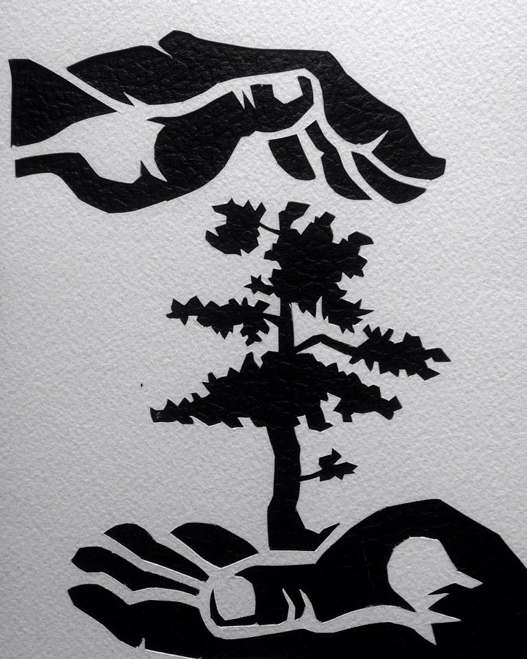 Paper cut-out stencil