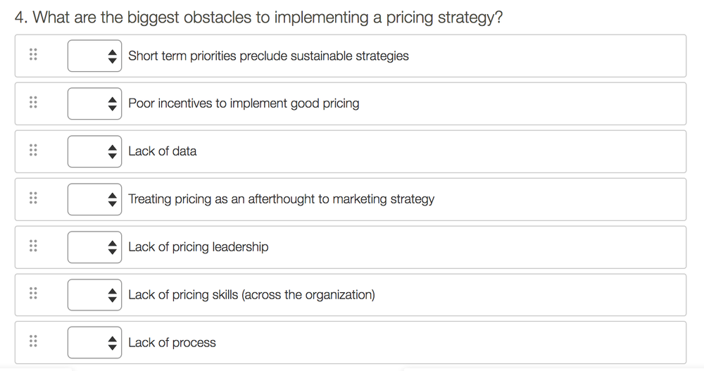 (The question is from our current survey into Pricing Skills.)