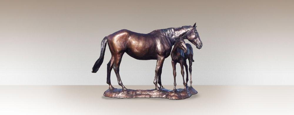mare-foal-bronze-horse-sculpture