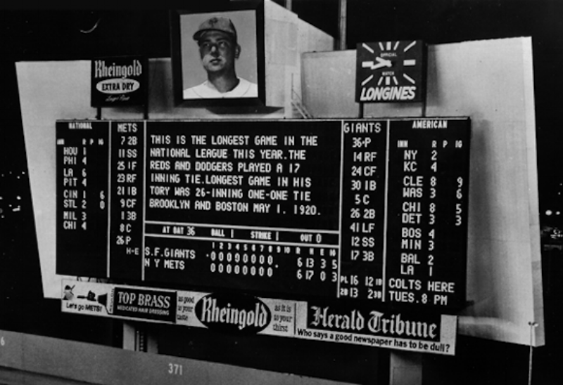 Rheingold Beer Mets Scoreboard via  Ballpark Digest