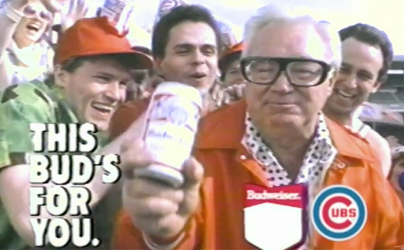 Harry Caray Budweiser Commercial via  Ballpark Digest