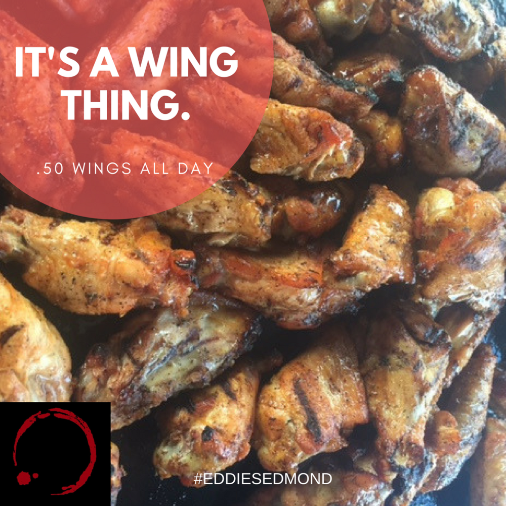 Wing Wednesday Special, every Wednesday, .50 wings, 11 sauces