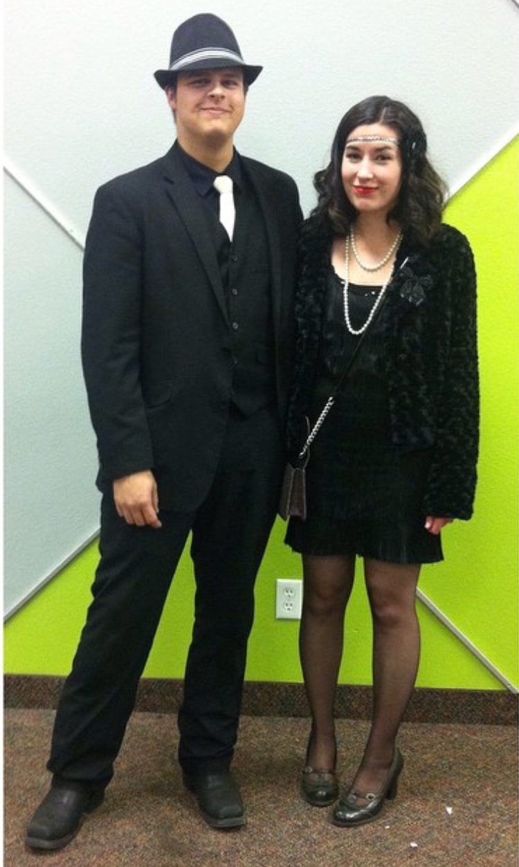 2014. One of my dream costumes. A 1920s flapper and her gangster. Notice his boots that he still wears today.