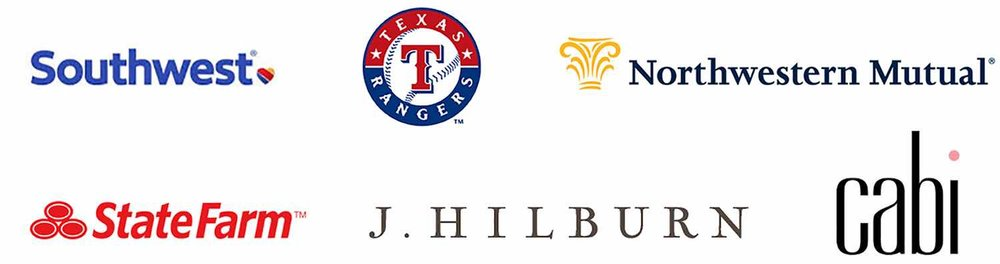 Southwest State Farm Cabi J Hilburn Texas Rangers Northwestern Mutual Logos