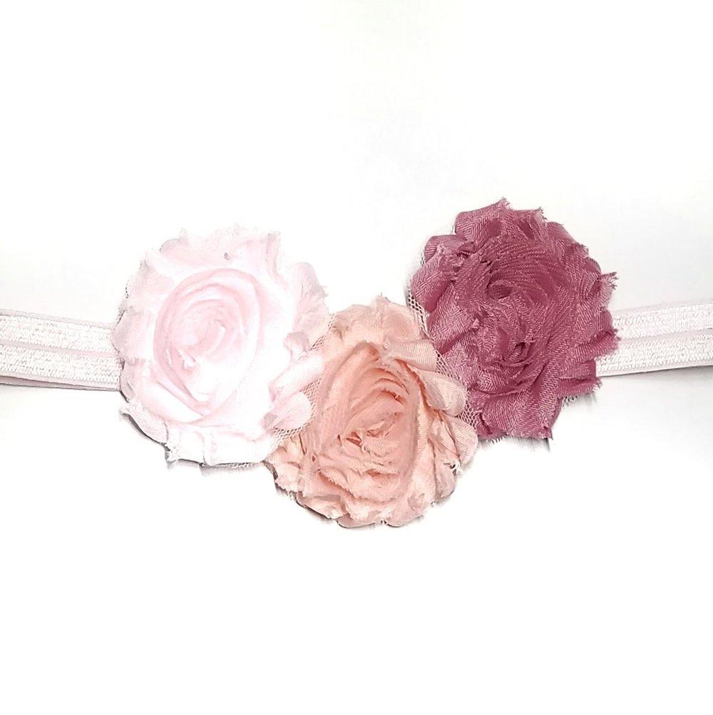 Pink Three Chiffon Flower Headband — Viktorija s Adorable Adornments eb7445cbc34
