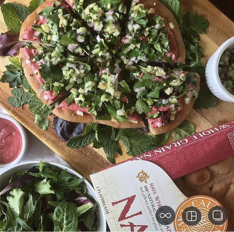 Whole Grain California Lavash - Beet Hummus Flatbread with Herb Salad and Lemon Relish
