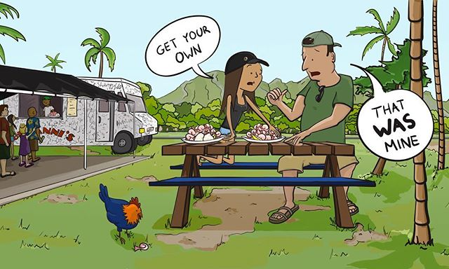 Every time I go to Oahu I become 90% shrimp-especially when my dad's buying! . . . . . #fatherdaughtermoments #shrimptrucks #giovannisshrimptruck #oahu #hawaii #cartooning #illustration #adobe #hawaiichicken #aloha @allthecomics