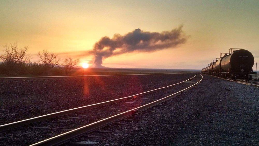 Dutton Sunset Over Railroad