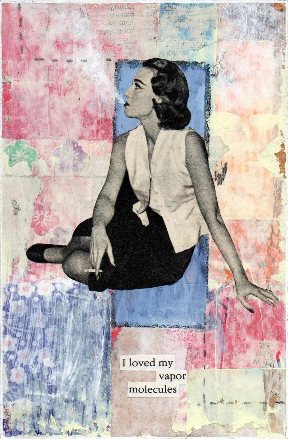 'Vapor' Collage and Acrylic  10 x 15cms