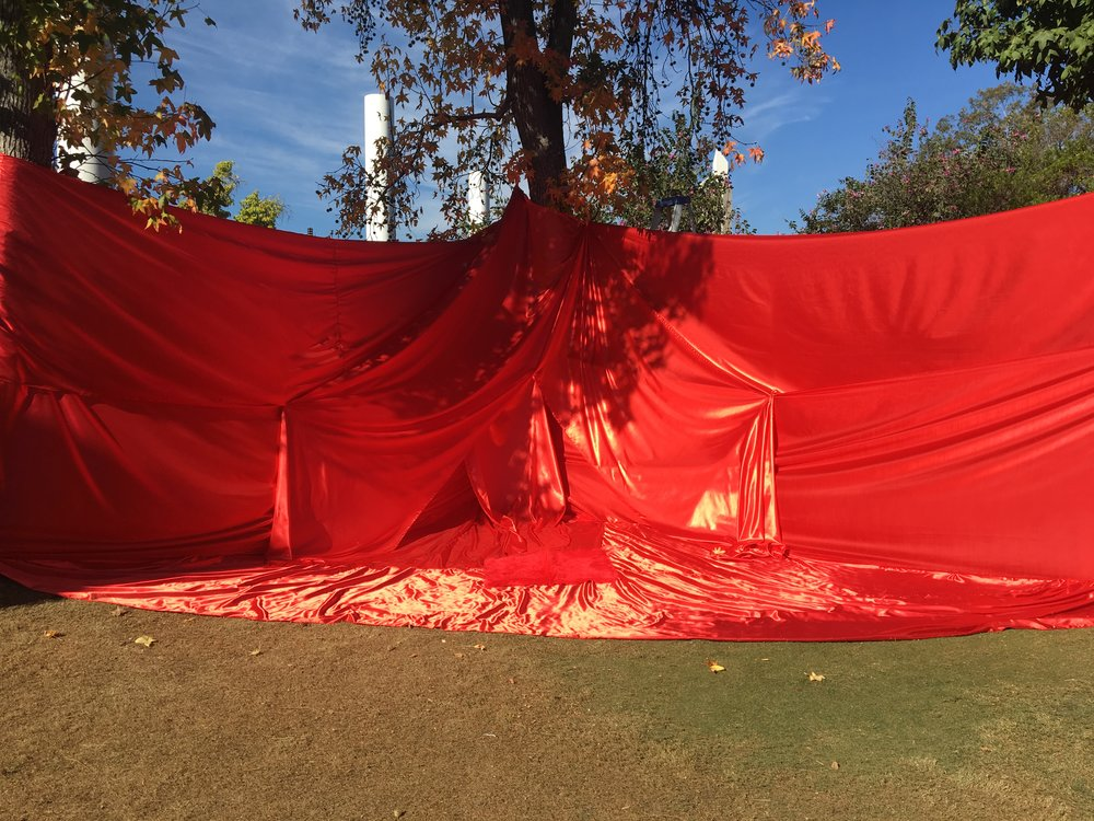 Installation on Azusa Pacific University West Campus Lawn, collaborative work with Ivana Quezada. Silk and Faux Fur Fabric. 2017.
