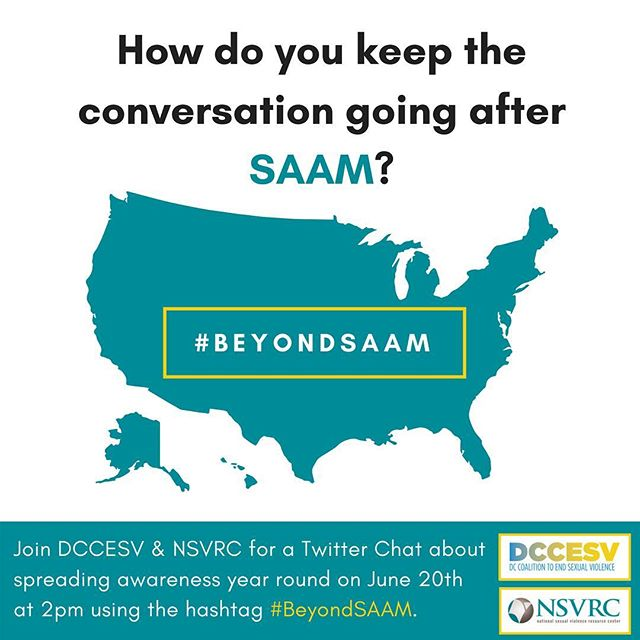 Join us and @NSVRC On June 20th for a Twitter Chat on how to keep the momentum going #BeyondSAAM!