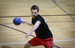 Dodgeball player getting really into his game.