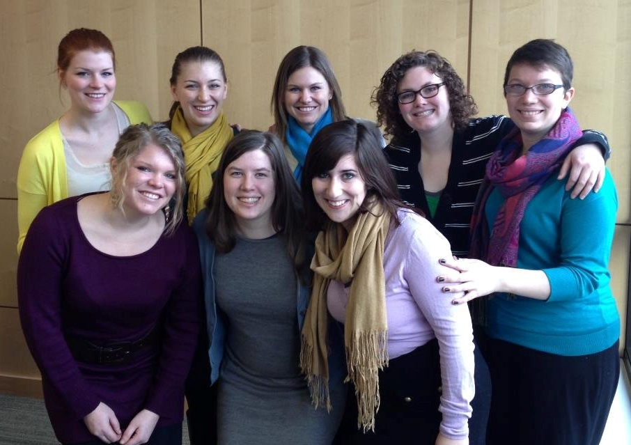 The 2012-2013 MN VISTA Leaders - Top row, left to right: Claire Hammer, Laura Linder-Scholer, Angie Brown, Amanda Mangan, and Amanda Scherer. Bottom row, left to right: Maggie Hendrickson, Anna Preus, and Jessica Zimmerman