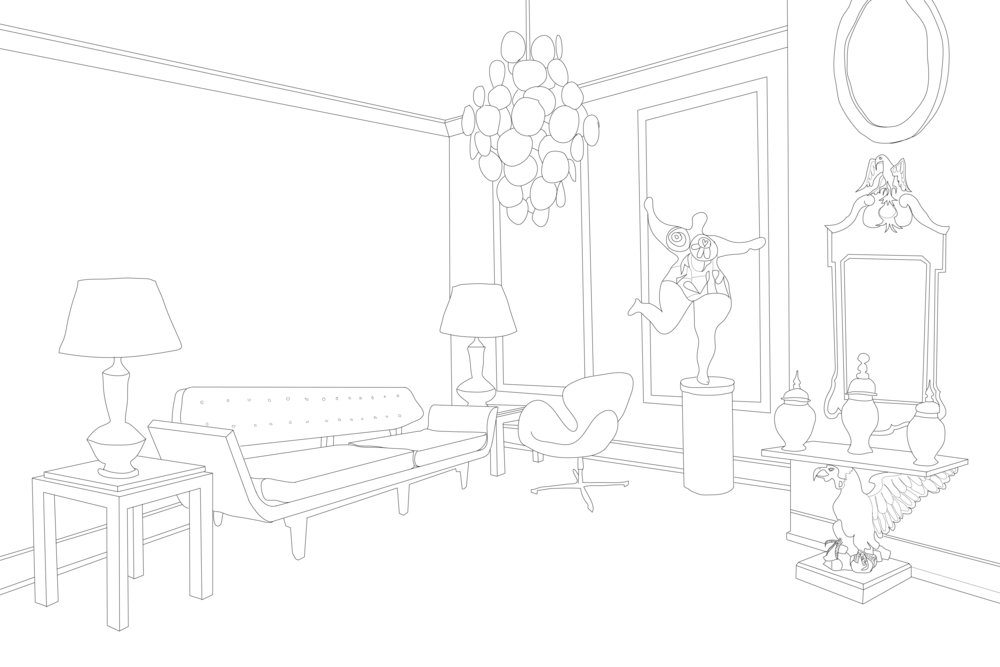 The coloring book style line drawing showing the fictious living room of Mame Dennis's Bel Air Home. CHECK LIST OF ITEMS IN THE ROOM: 1957 La Gondola Sofa by Edward Wormley for Dunbar. 1940 A pair of rare Elsie de Wolfe original ceramic lamps. 1925 A pair of Jean Dunand Art Deco sidetables. 1960 Vistosi Murano Chandelier. 1959 Arne Jacobsen Swan Chair. 1965 Niki de Saint Phalle sculpture Nana no.1. 1750 George II gilt eagle table. 1760 Fine George II Parcel-Gilt Mirror.