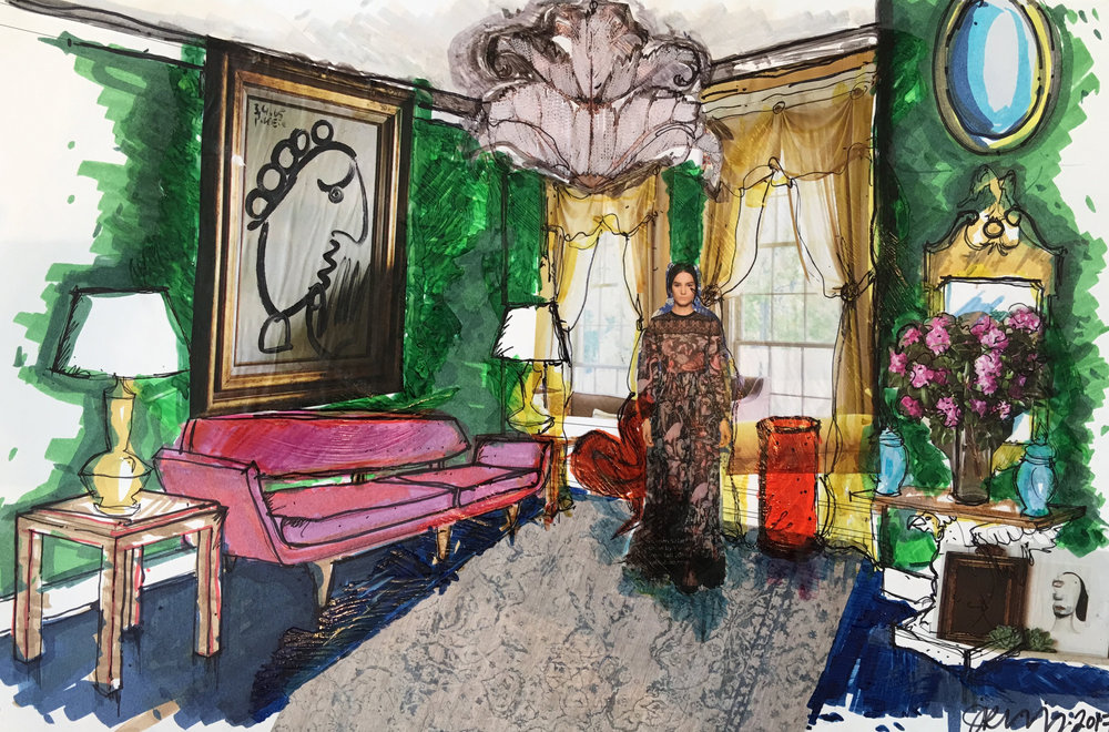 """76 - JAMIE RUMMERFIELD Titled: """"Shangra-La"""" Medium: marker, ink, gesso"""
