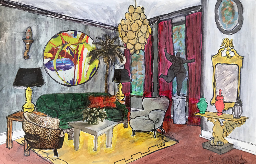 "77 - RON WOODSON Titled: An Afternoon with Mama"" Medium: mixed media, marker, ink, gesso"