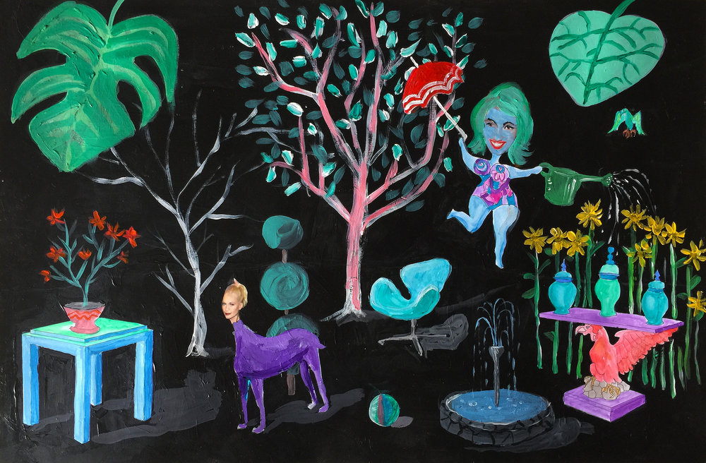 "89 - DOUG MEYER Titled: ""Midnight in the Garden of Mame"" Medium: acrylic and watercolor"