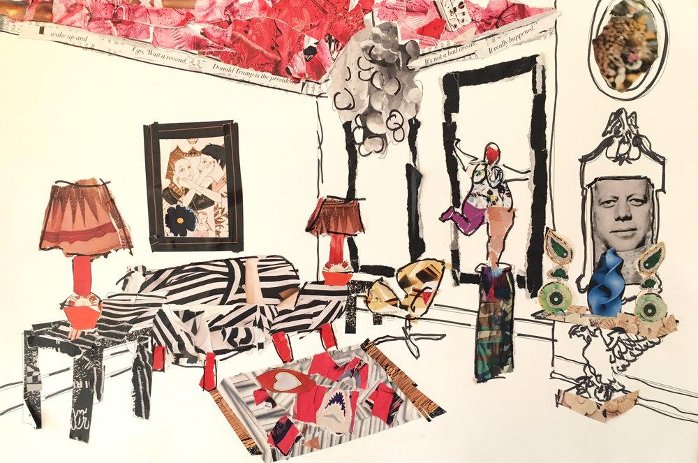 "93 - MICHELLE NUSSBAUMER Titled: ""Untitled"" Medium: collage and marker"