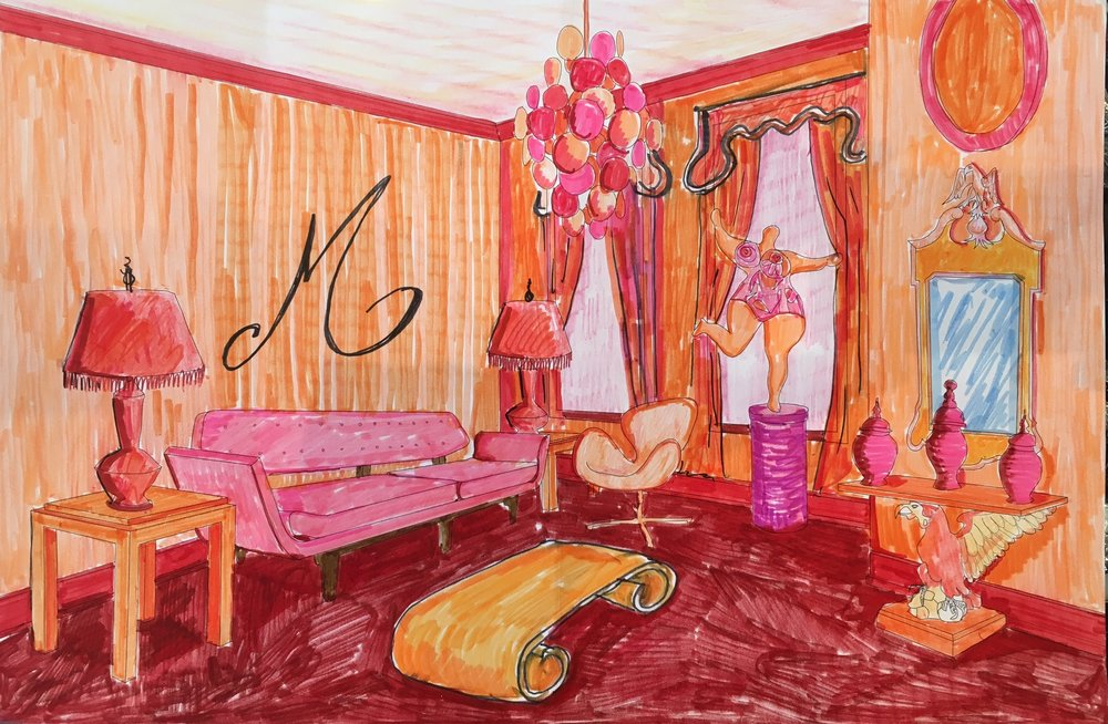 "94 - PATRICK MELE Titled: ""Maquillage"" Medium: pencil, marker"