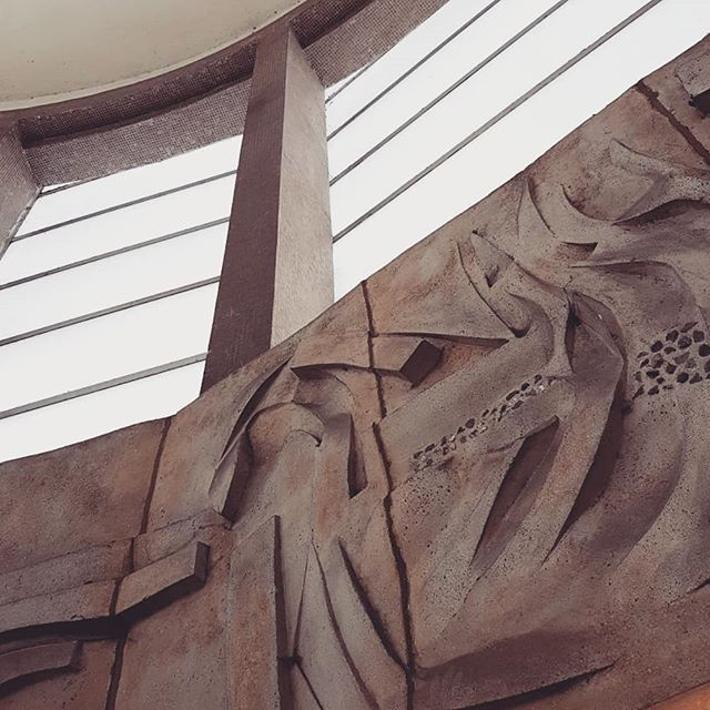 Unexpectedly lovely friezes by Henry Haig at South Ruislip Station, shame about the CCTV cameras!  #londonunderground #architecture #concrete #mosaic #southruislip #henryhaig #freize