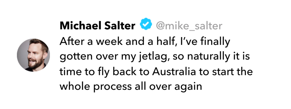 Michael Salter tweet on jet lag