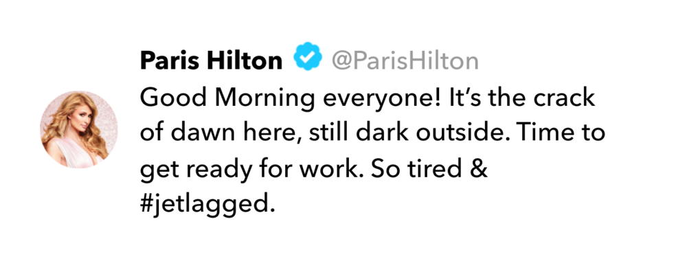 Paris Hilton tweet on jet lag