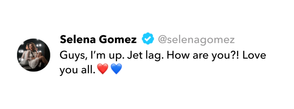 Selena Gomez tweet on jet lag