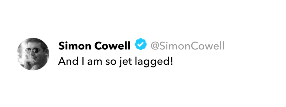 Simon Cowell tweet on jet lag