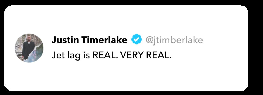 Justin Timberlake tweet on jet lag