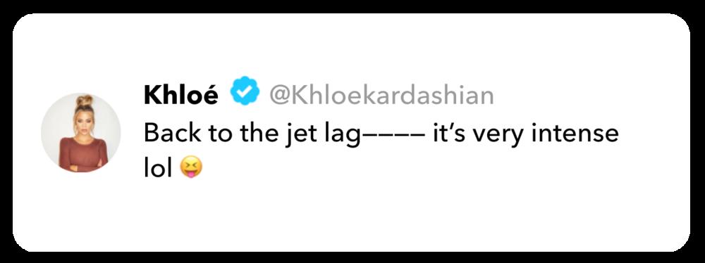 Khloé Kardashian tweet on jet lag