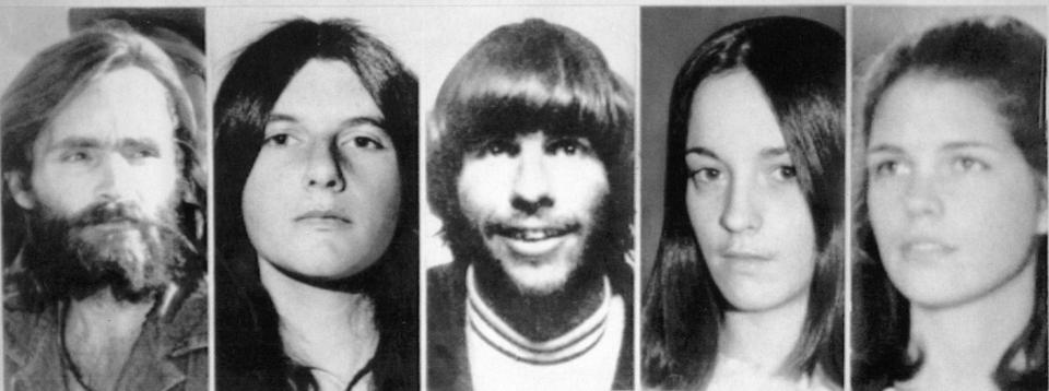"From Left to right. Murderers Charles Manson, left, with Patricia Krenwinkle, second left, Susan Atkins, second from right, Leslie Van Houten, right. and centre Manson'r chief lieutenant Charles ""Tex"" Watson centre"